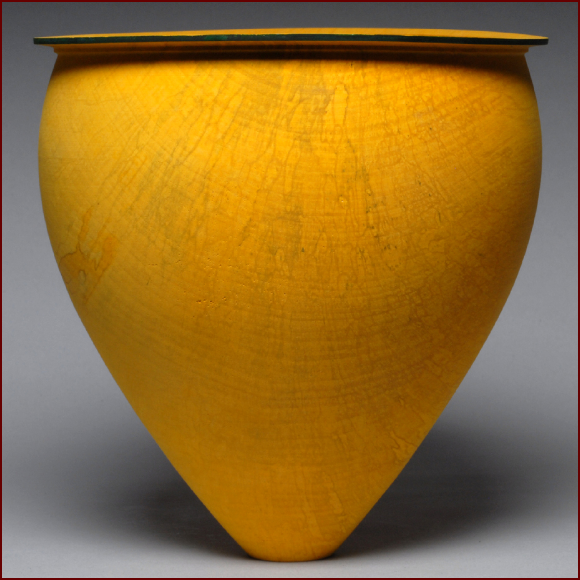 Merete Larsen, Yellow Bowl, 1999. Dyed sycamore. Courtesy Del Mano Gallery