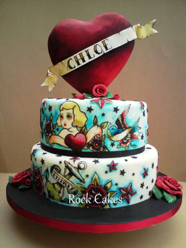 Pin By Alicia Bedner On RetroRockabilly Party Pinterest Cake - Rockabilly birthday cake