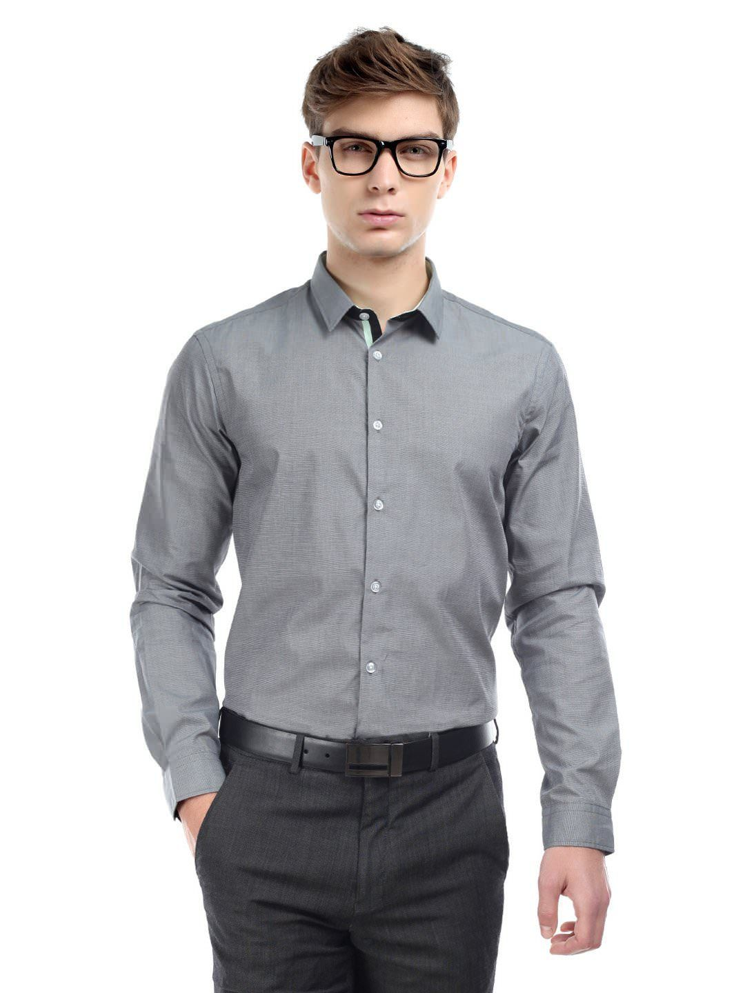 arrow new york grey slim fit semi formal shirt