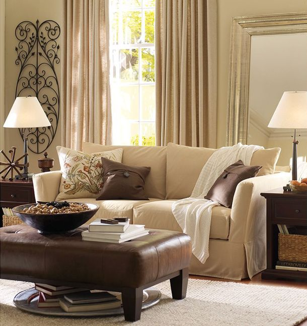 beige classic living room with throw blanket | Living Rooms ...