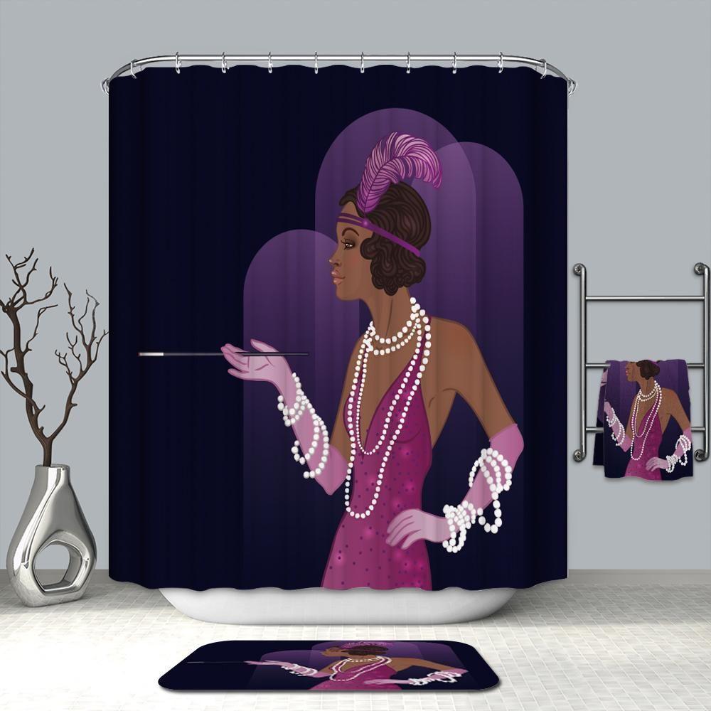 Party Dress Purple Afro Girl Print Waterproof Fabric Shower
