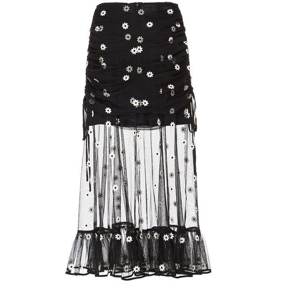 Alice McCall Le Lady Overlay Midi Skirt ($300) ❤ liked on Polyvore featuring skirts, black, midi skirt, giambattista valli, giambattista valli skirt, mid-calf skirt and ruffle hem skirt