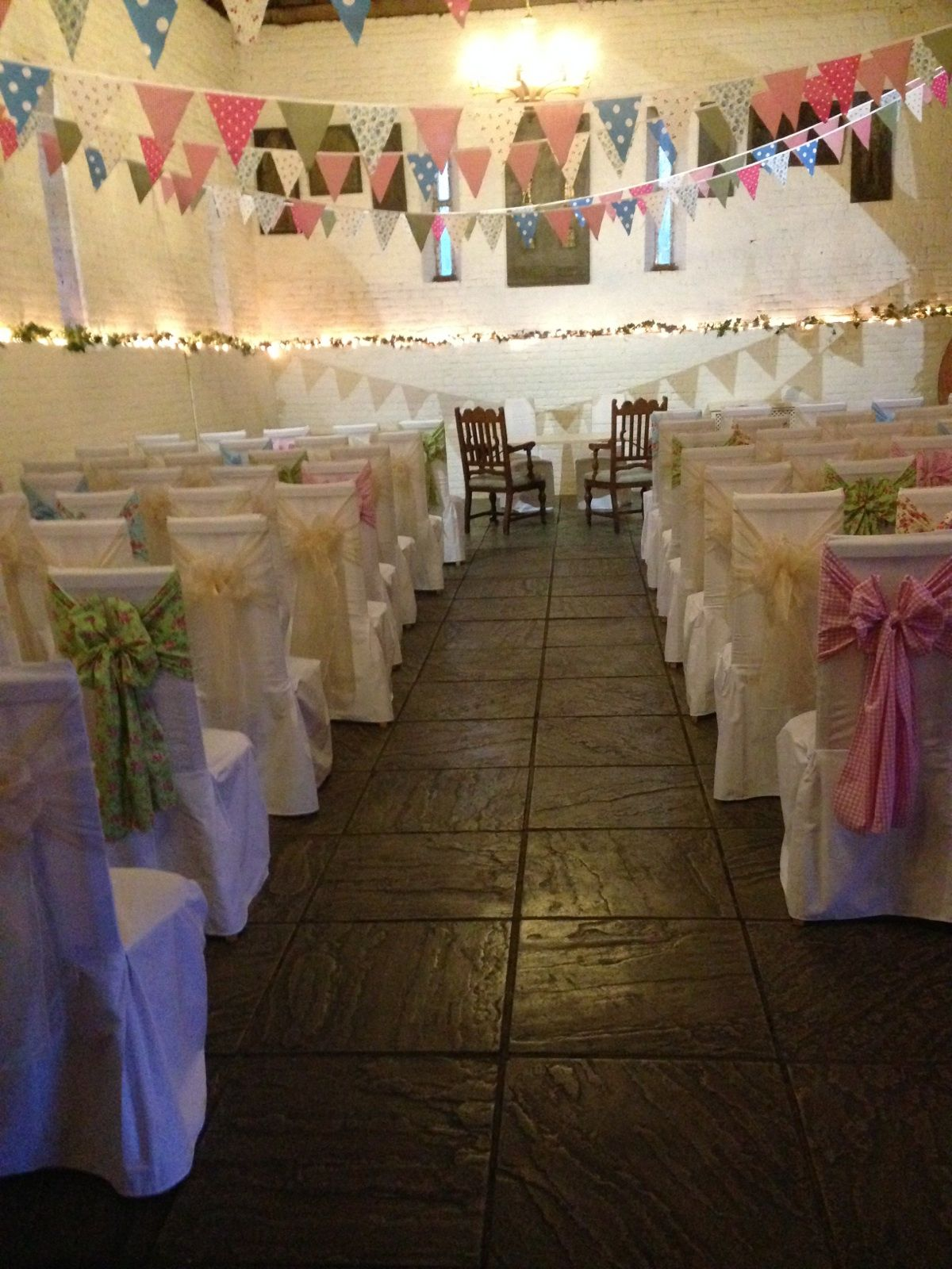 White Cotton Chair Covers With Fl And Ivory Sashes At Ufton Court