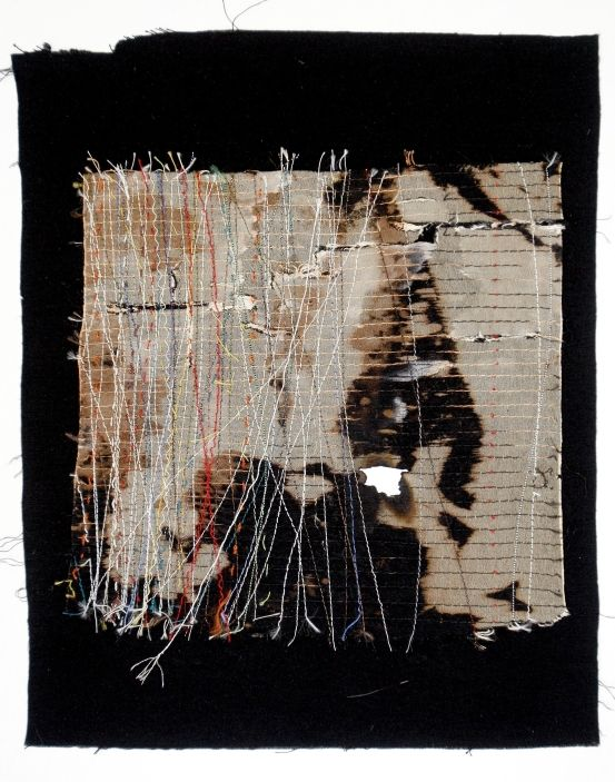 Beth Charles. Journey into Night series, 'I walk alone'. Machine and hand stitch on fabric
