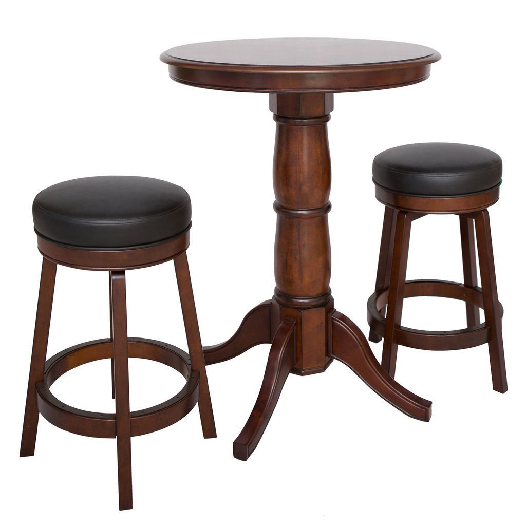 This Elegant High Top Oxford 3 Piece Hardwood Pub Table Set Features A Beautiful 30 Inch Sunburst Veneer Tabletop Supported By Sy Solid Wood Pedestal