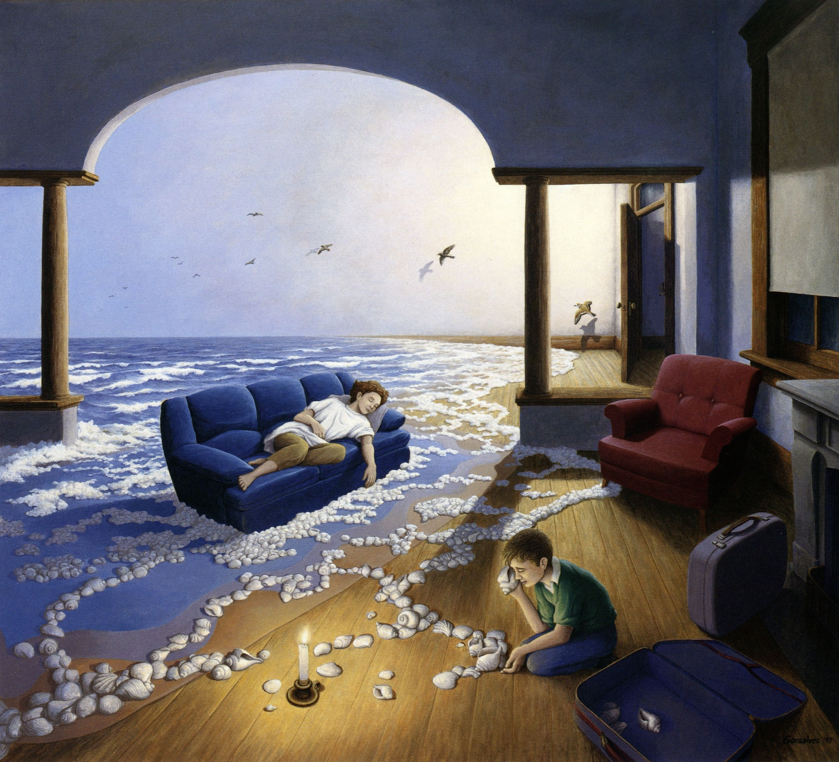 Rob Gonsalves Optical Illusion Paintings Illusion Paintings Magic Realism Living room surrealsim realism