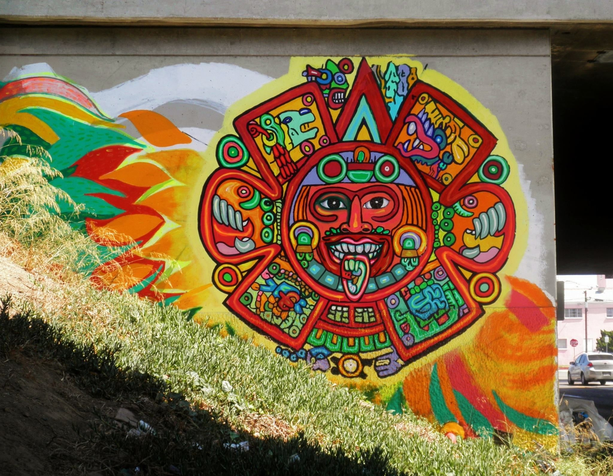 San diego california street art utopia pinterest for Aztec mural painting