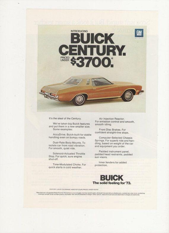73 Buick Century : buick, century, Buick, Century, Advertisement, Magazine, Century,, Buick,, Vintage