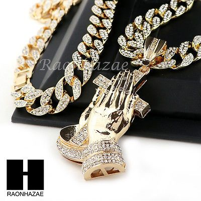 "Hip Hop 14k Gold Plated Praying Hands Pendant 30"" Iced Out Cuban Link Chain N07"