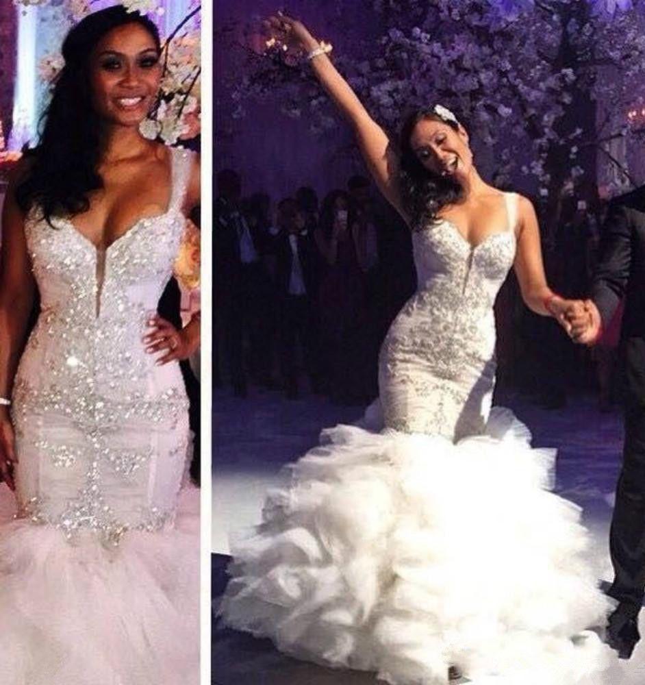 Sheer wedding dress  New Whiteivory Crystals Beaded Mermaid Wedding Dress Bridal Gowns