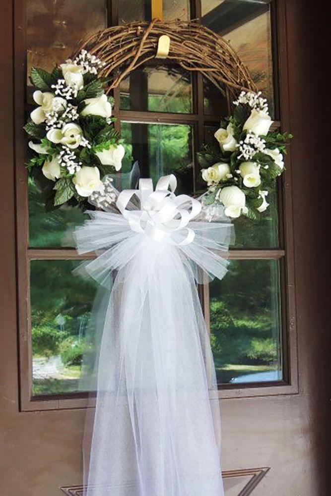 45 Breathtaking Church Wedding Decorations Wedding Forward Bridal Shower Wreaths Wedding Door Wreaths White Roses Wedding