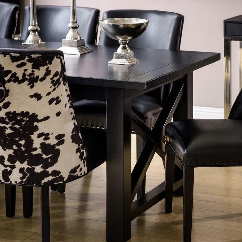 Lyon Black Oak Dining Table In 2020 Oak Dining Table Dining