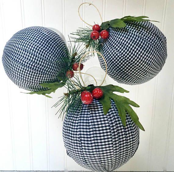 Buffalo plaid ornaments Black and white Christmas tree decor