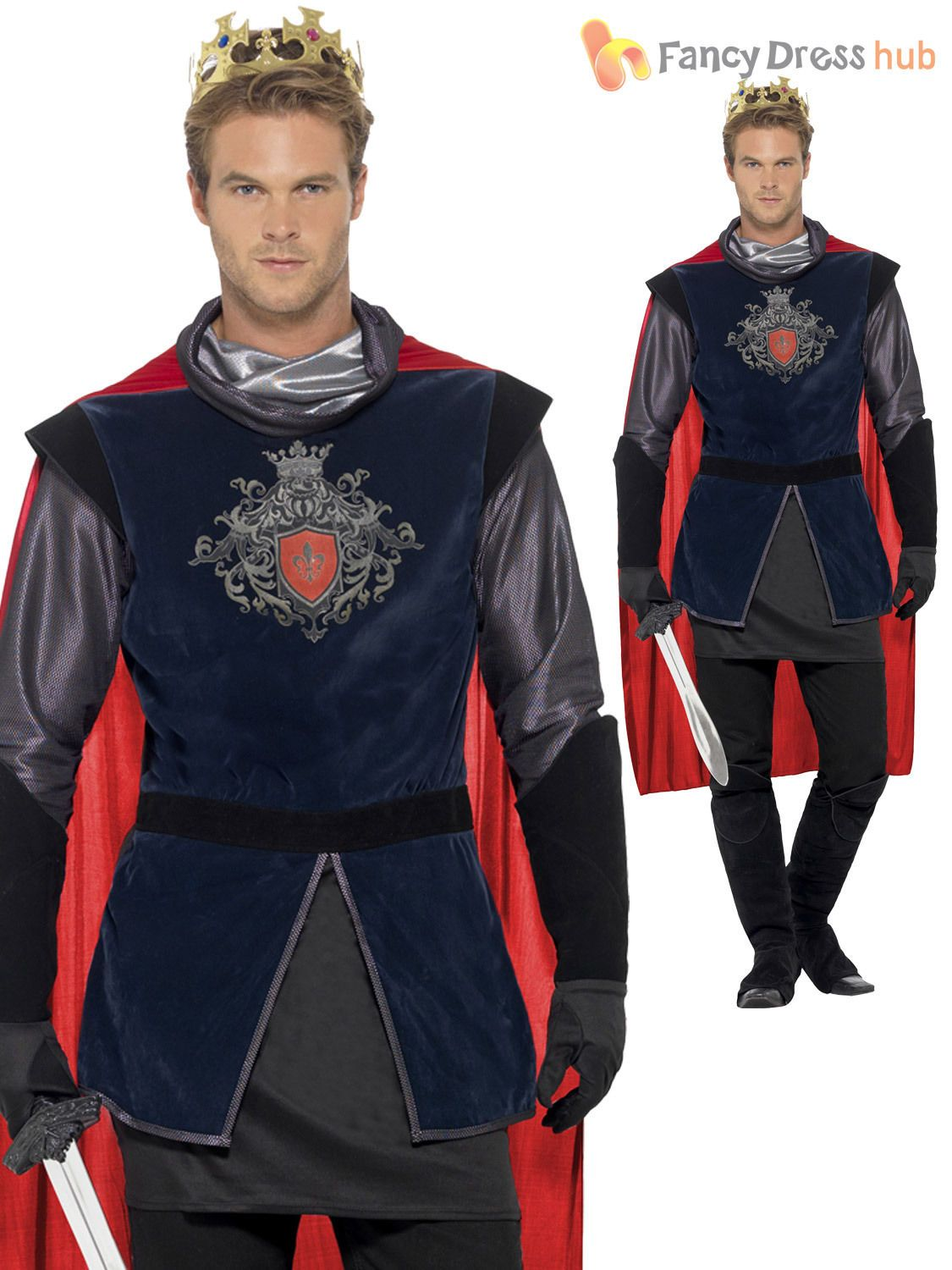 King Arthur Medieval Knight England Historic Mens Adults Fancy Dress Costume