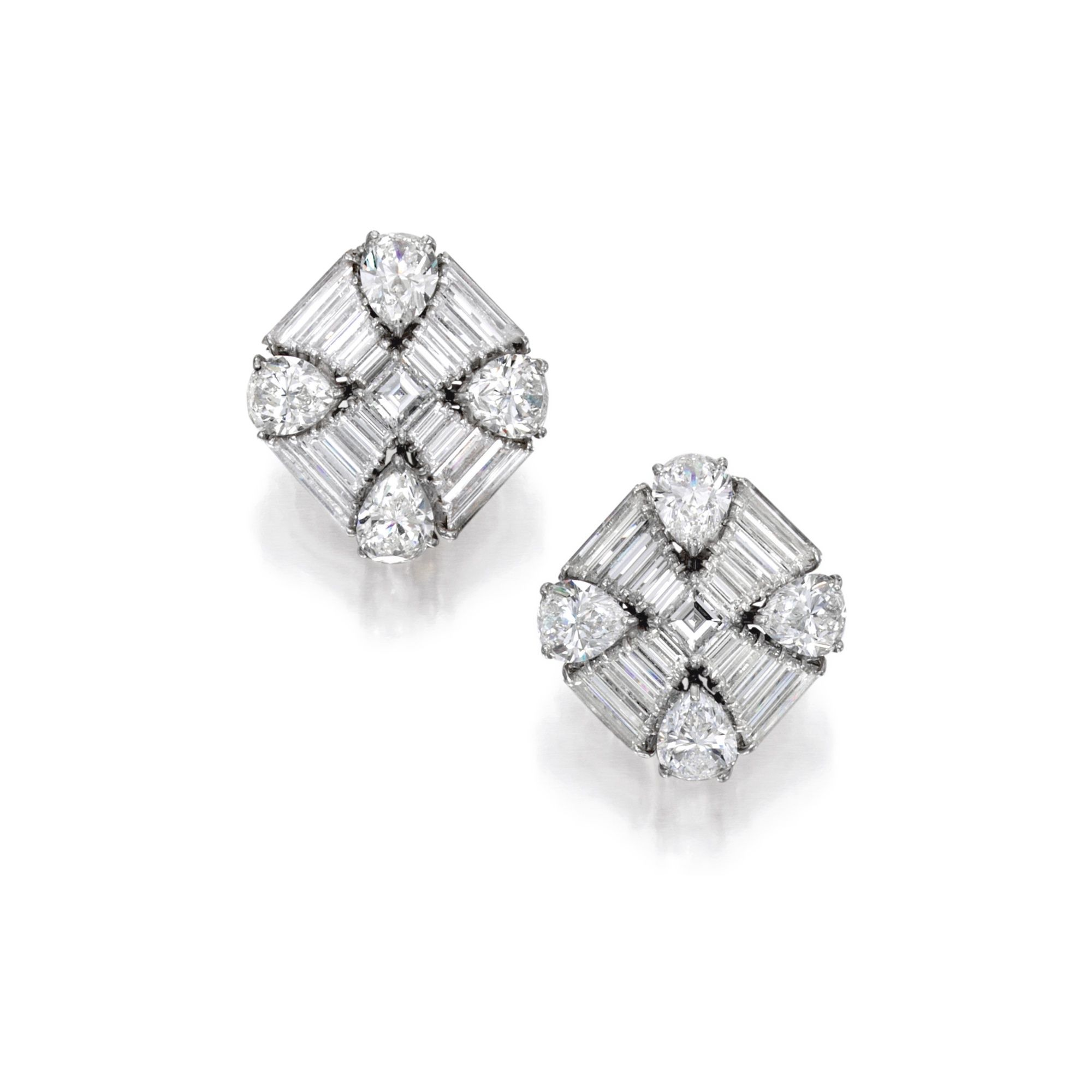 e935b3601 Pair of Platinum and Diamond Earclips, Harry Winston The square-shaped  designs set with