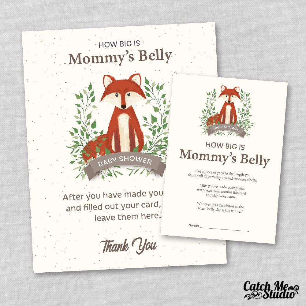 Fox Baby Shower Game How Big Is Mommys Belly Belly Guessing Game