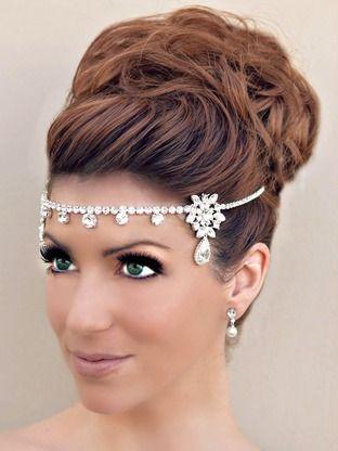 Items Similar To Kim Kardashian Inspired Wedding Bridal Forehead Tiara Earrings Prom Pageant Hair Band Party On Etsy