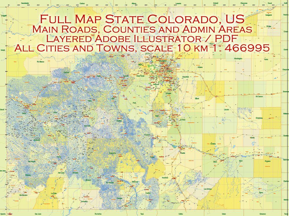 Map Colorado Us Pdf Detailed Exact Vector Editable Printable 10 Km