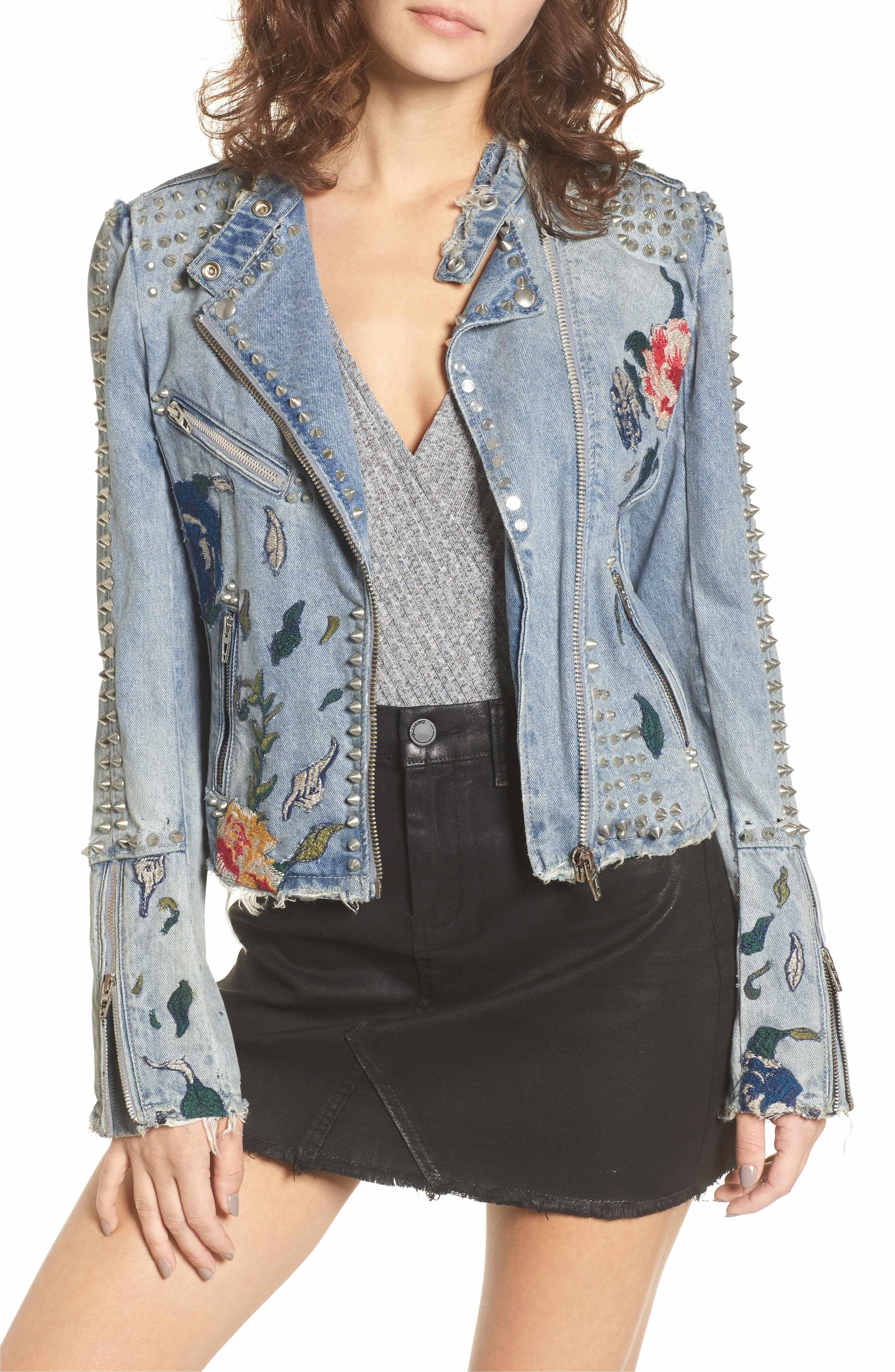 BLANKNYC Sea of Flowers Studded Denim Moto Jacket
