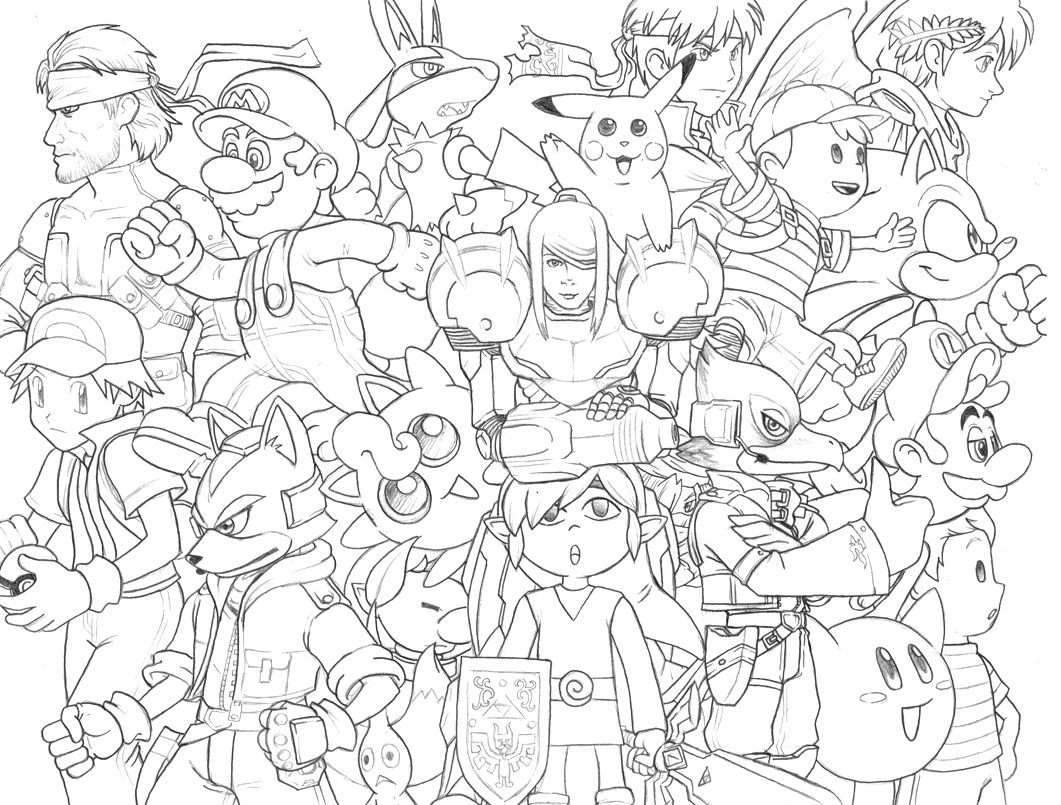 Smash Bros Doodle Cartoon Coloring Pages Coloring Pages Free