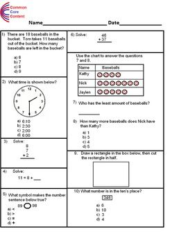 graphic relating to First Grade Math Assessment Printable titled 1st Quality Popular Main Math Investigation Limited Kind A (10