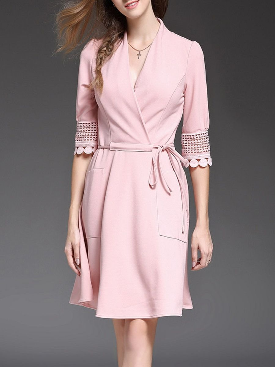 Adorewe stylewe nedo pink girly pierced midi dress adorewe