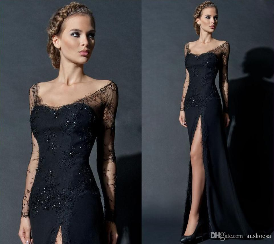 Side split sheer long sleeve evening dresses square beads lace