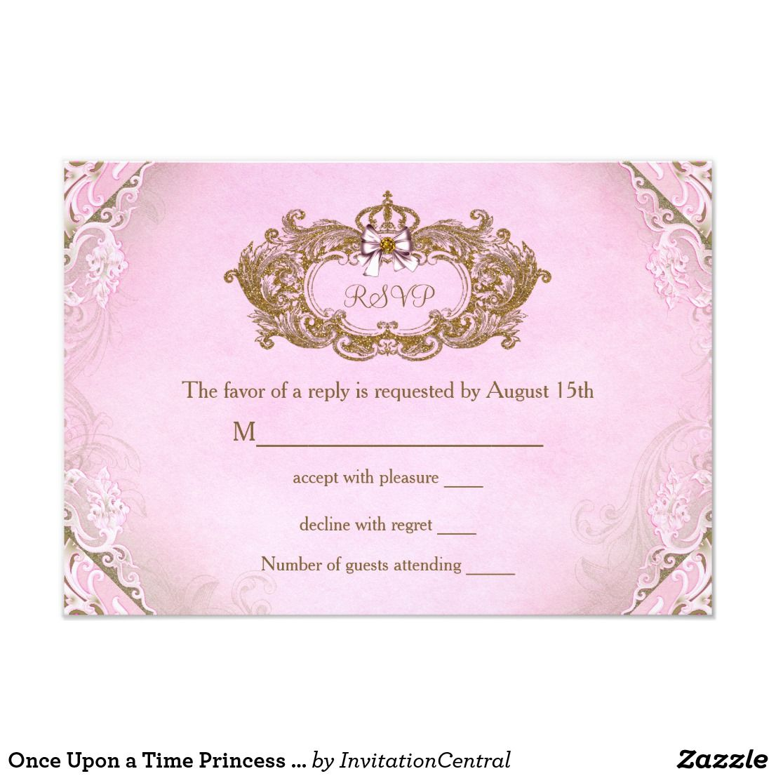 Once Upon A Time Princess Birthday Rsvp Response Cards Princess