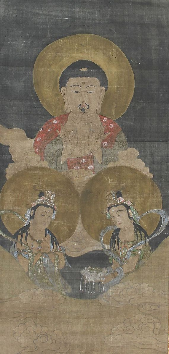 Gautama Buddha. Japanese Buddhist Art. Hanging Scroll.