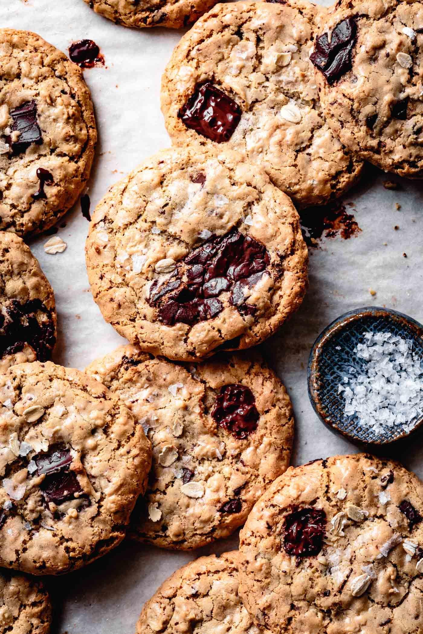 Salted Tahini Chocolate Chip Oatmeal Cookies Vegan Gluten Free