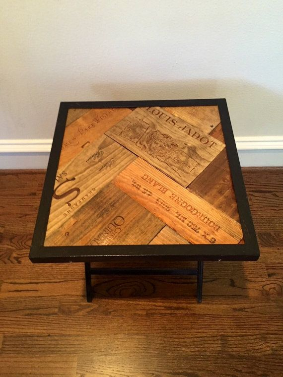 Vineyard Reclaimed Wood Accent Wine Table  Folding Metal