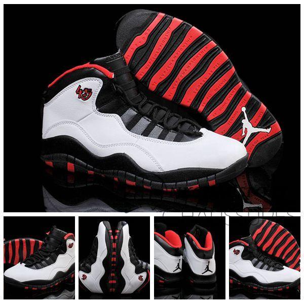 Nike Air Jordan 10   Classique Chaussure De Basket Homme Blanche Noir