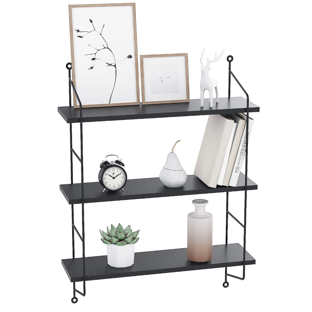 Amazon Com Bathwa 3 Tier Industrial Floating Shelves Wall Mounted Display Wall Shelf Storage Rack Wall Rack Holder Rack Whit In 2020 Floating Shelves Wood Storage Shelves Shelves