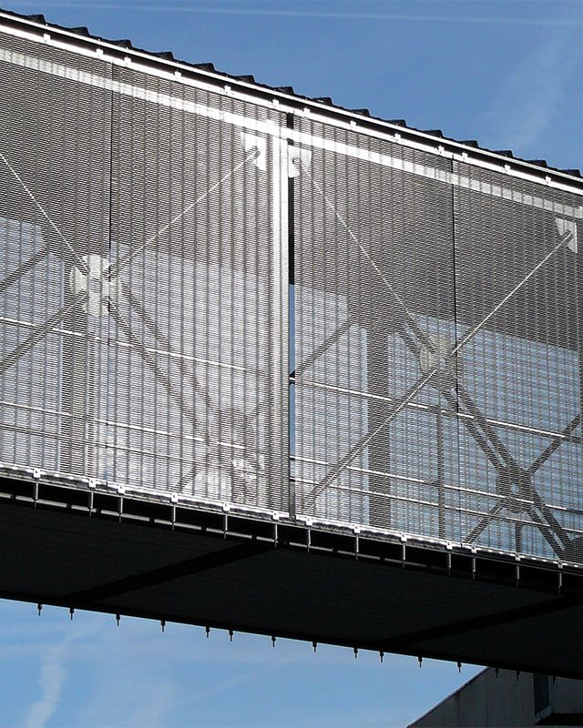 Architectural mesh is woven from many high-tensile wires, ensuring a ...
