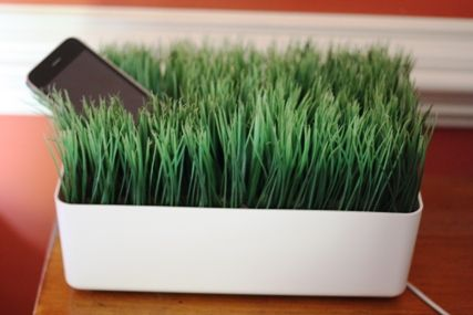 Bringing grass into the office ... an electronic charging station.
