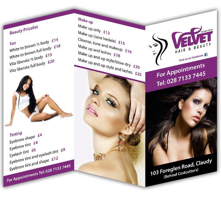 3 Fold Brochure Design – Hair & Beauty Salon, | Magazine, Posters ...