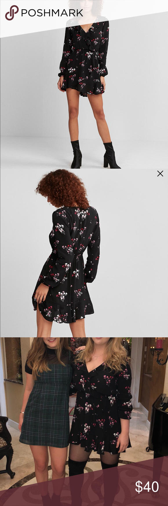 Long sleeve express dress express dresses small flowers and