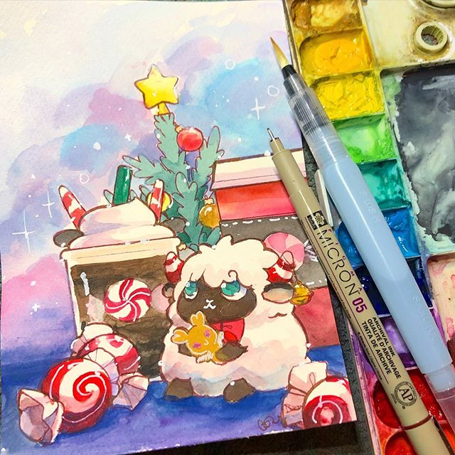 A Peppermint kind of holiday is the best kind. :) thanks for a great time on stream! See you guys tomorrow at 2pm pt! . . . . . . . . . #cindydraws #art #drawing #illustration #illustrationartists #sketch #watercolor #drawdaily #watercolour #waterbrush #koiwatercolors #doodle #sketchdaily #copic #micron #copicliner #sketchbook #sketchaday #winter #snow #holiday #christmas #sheep #peppermint