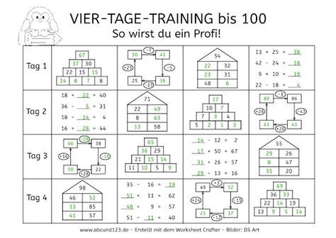 Vier-Tage-Mathe-Training, Zahlenraum bis 100, Arbeitsblatt Mathe bis ...