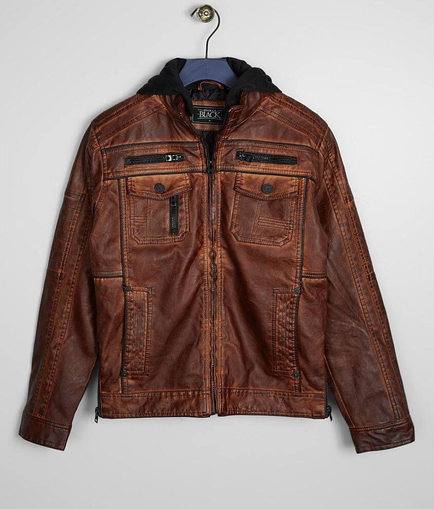 Boys Buckle Black Faux Leather Jacket Boy's Coats
