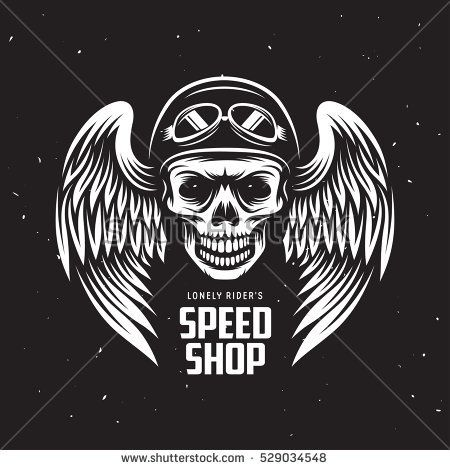a1d58724 Vintage motorcycle t-shirt graphics. Speed shop label. Biker t-shirt.  Motorcycle emblem. Monochrome skull in helmet. Vector illustration.