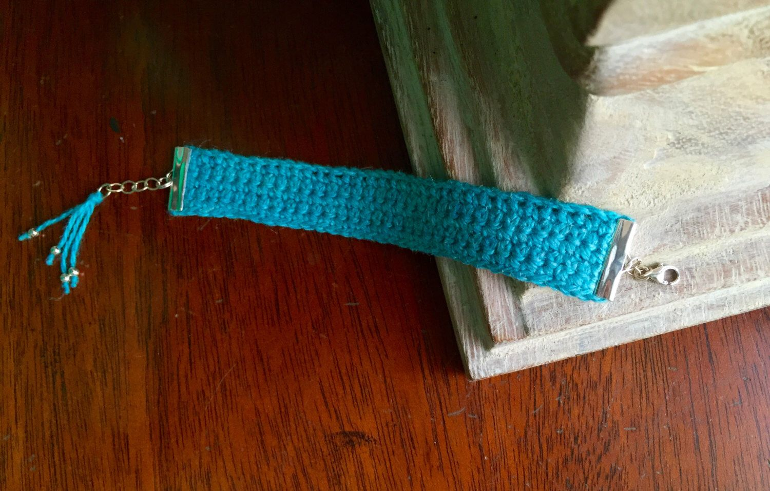 A personal favorite from my Etsy shop https://www.etsy.com/listing/260317684/hand-crocheted-turquoise-silk-and-linen