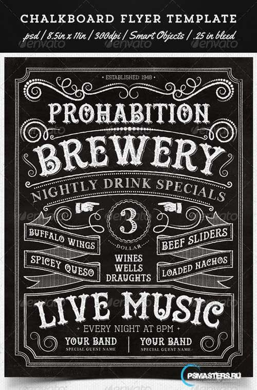 GraphicRiver Chalkboard Flyer Template Designs Text Typography Art
