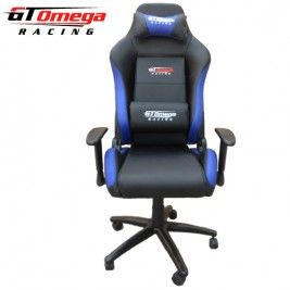 Exceptional GT Omega EVO Racing Office Chair Black And Blue Leather