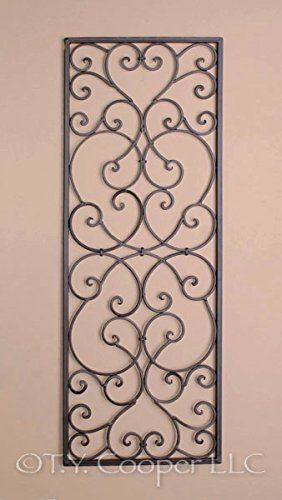39 95 Wrought Iron Rectangle Wall Grille 32 T X 12 W T Y Cooper Llc Fulfilled By Amazon Iron Wall Art Iron Wall Decor Wrought Iron Wall Decor
