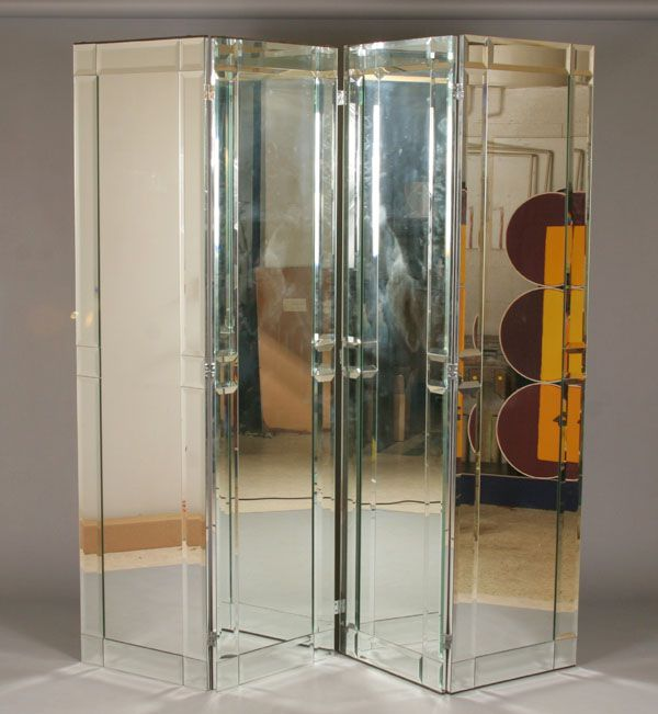 Tall Art deco mirrored four panel room divider screen 84H 88W