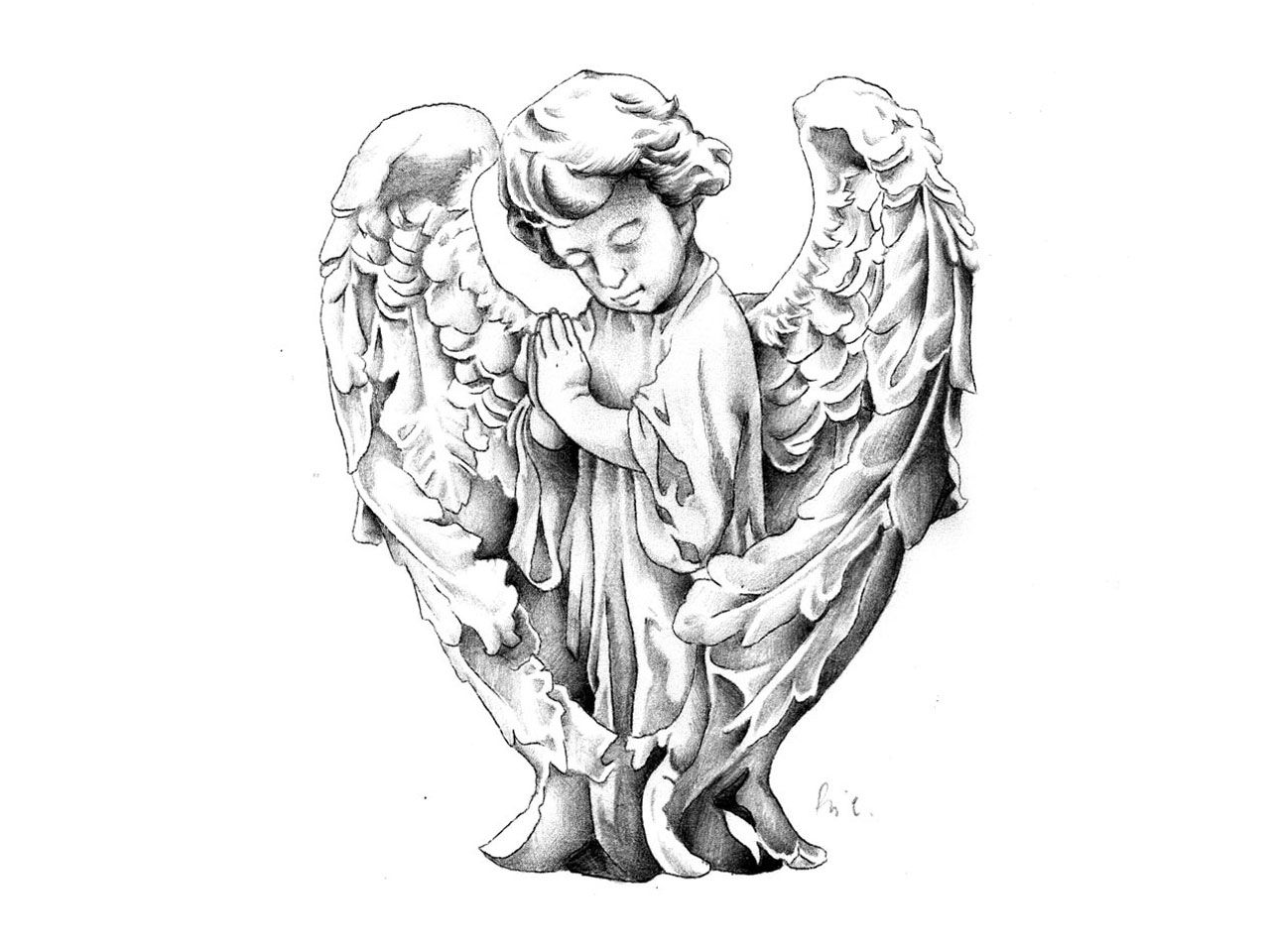 Statue Of Baby Angel Tattoo Design 1 280 960 Pixels