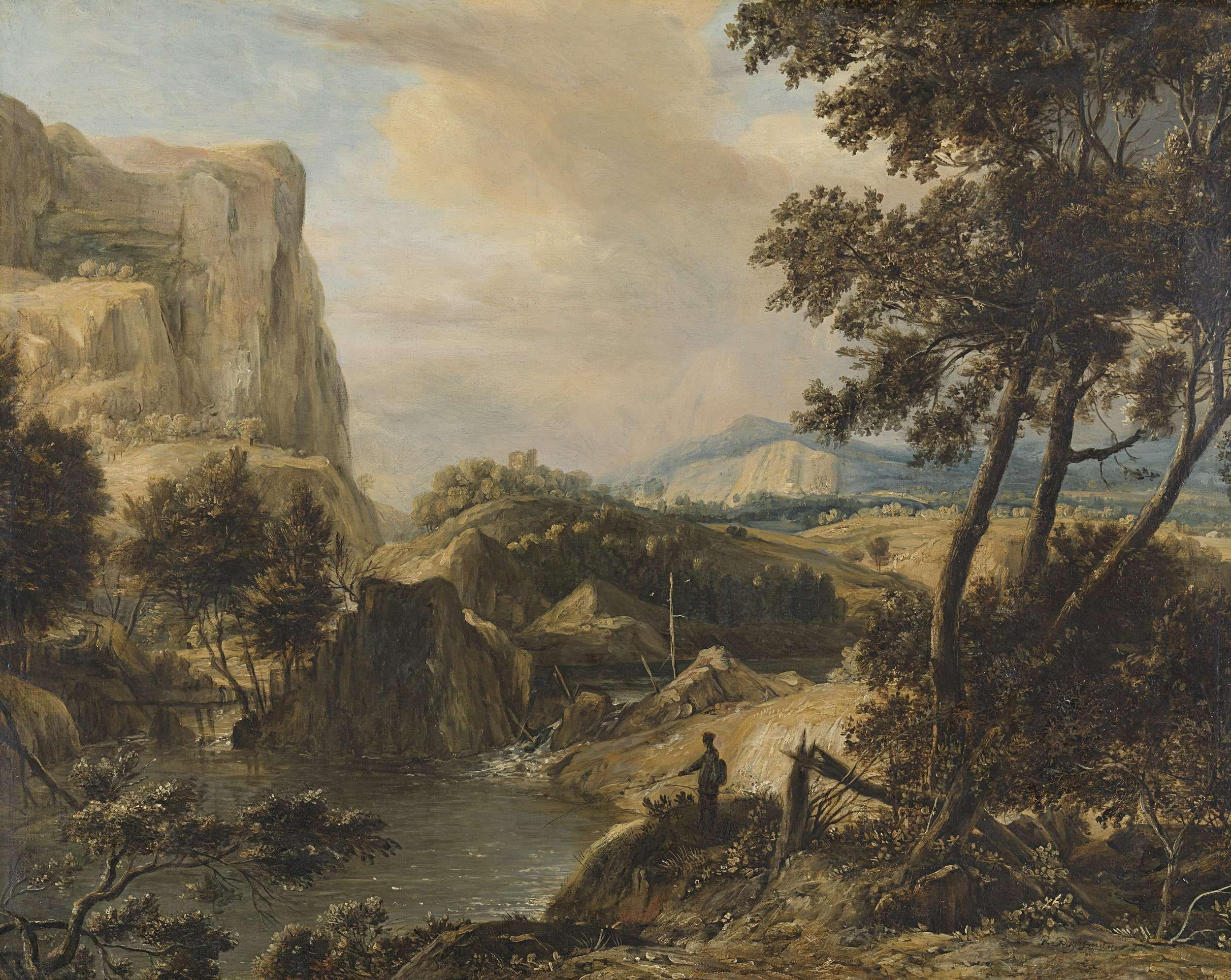 Roelant Roghman   Mountainous landscape with fisherman, Roelant Roghman, 1650 - 1692   Een bergachtig landschap met visser. Links hoge steile rotsen, rechts bomen. Op de voorgrond staat een man met een hengel te vissen in een meertje.