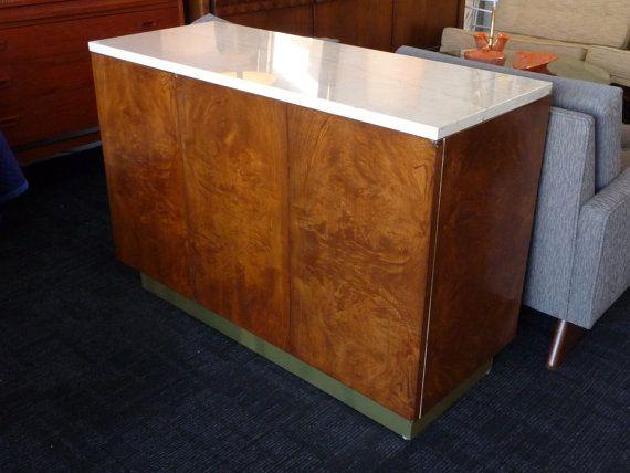 Credenza Con Tope De Marmol : Burl wood credenza mid century modern bar with marble top in the