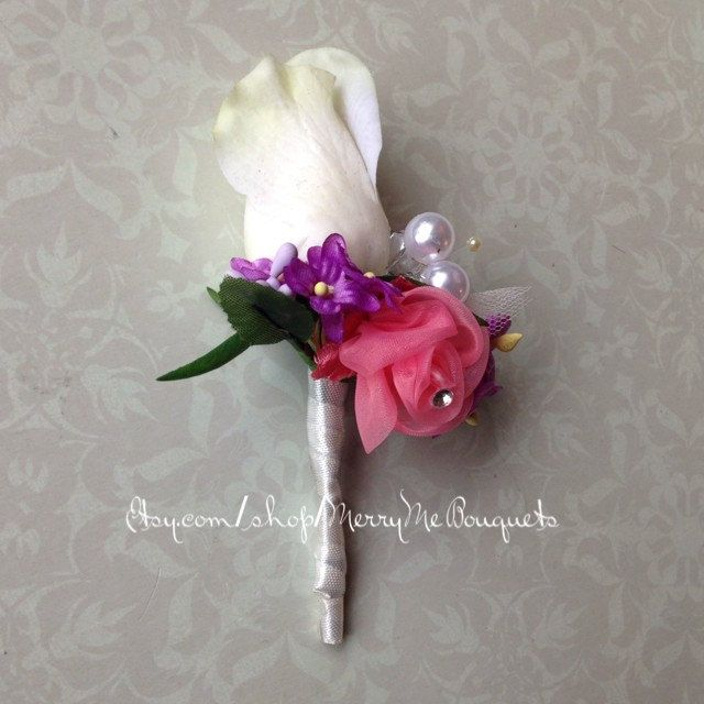 White Rose Boutonniere - or Ivory True Touch Rose Boutonniere with Purple and Coral Pink Accents - Pink and Purple Buttonhole - pinned by pin4etsy.com